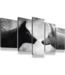 kit 5 quadros decorativos sala quarto 135x60 casal de lobos lua cheia - tricae