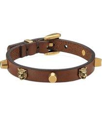 women's gucci feline head stud leather bracelet