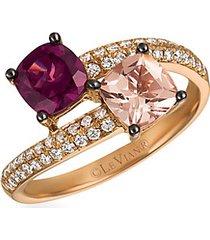 14k strawberry gold®, peach morganite™, raspberry rhodolite® & vanilla diamonds® wrap ring