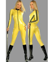 ladies sexy samurai costume ninja cosplay warrior catsuit adult yellow jumpsuit