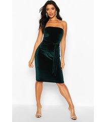 velvet bandeau belted midi dress, emerald