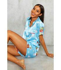 gelicenseerde satijnen toy story disney pyjama set met shorts, blauw