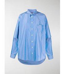 balenciaga double sleeve striped shirt
