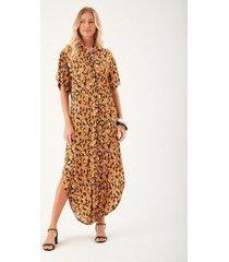 vestido zinzane chemise longo onça feminino - feminino