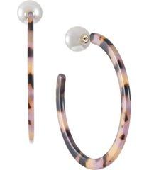 trifari gold-tone tortoise-look hoop earrings