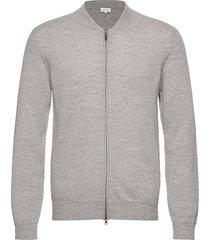 man bomber jacket stickad tröja cardigan grå davida cashmere