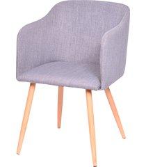 cadeira charla com braço e base em madeira beni - cinza