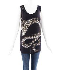 lanvin silk python snake tank top black/multicolor sz: s