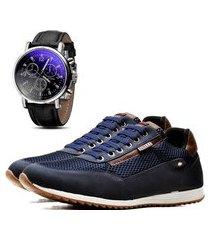 sapatênis casual com relógio dubuy 1100la azul