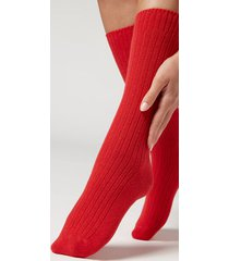 calzedonia short ribbed socks with wool and cashmere woman red size tu
