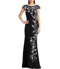 theia women's beaded vine trumpet gown - black white - size 4