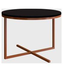 mesa redonda volpi baixa preto/cobre artesano