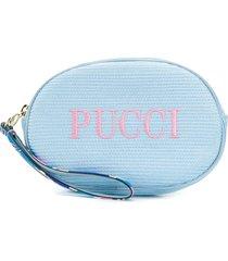 emilio pucci logo embroidered cosmetic bag - blue