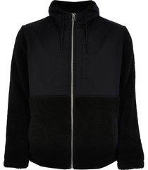 river island mens black borg nylon hooded jacket