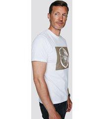 t-shirt i bomull med tryck - vit