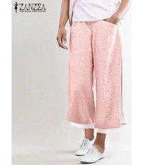 zanzea elástico de las mujeres cintura ancha piernas mdi pantorrilla pantalones casuales pantalones sueltos llanura -rosado