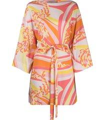 emilio pucci abstract-print tie-waist beach dress - pink