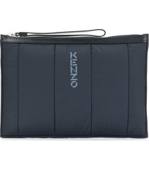 kenzo logo padded large pouch - blue