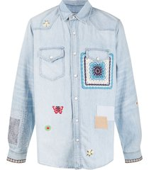 amiri embroidered patchwork denim shirt - blue