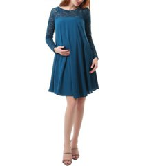kimi + kai elle maternity lace trim dress