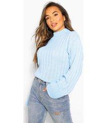 petite rib knit high neck sweater, pale blue