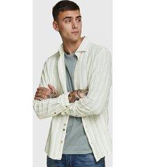 camisa jack & jones lino menta - calce regular