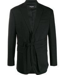 dsquared2 multi-pocket belted blazer - black