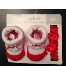 newborn baby girl carter's bootie & headwrap set red & white