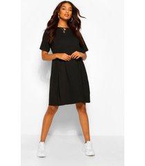 positiekleding gesmokte jurk met ronde hals, zwart