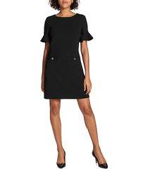 flutter-sleeve two-pocket shift dress