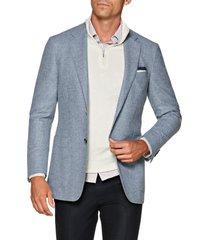 men's suitsupply havana slim fit heathered wool sport coat, size 36r - blue