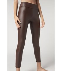 calzedonia leather effect leggings woman brown size s