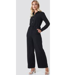na-kd trend wide drawstring jumpsuit - black