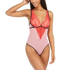 inc sheer lace underwire thong bodysuit, created for macy's