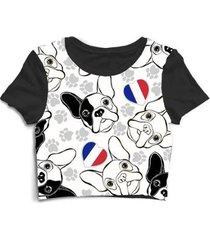 blusa feminina cropped tshirt cachorro buldogue francês - feminino