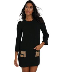 dress with fringe logo pockets