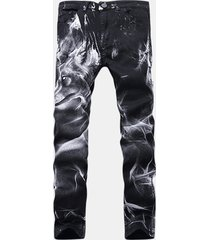 motocicletta vintange wolf printing folds high elastic sottile ripped jeans per uomo