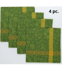 kit de 4 pc. guardanapo primavera 47x47cm 100% algodã£o importado de portugal - amarelo/verde - dafiti