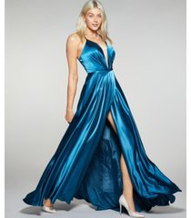 betsy & adam petite laced-back satin ball gown