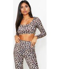leopard print scoop neck long sleeve top, stone