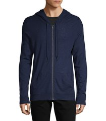zadig & voltaire men's full-zip cashmere hoodie - navy - size xl