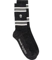 alexander mcqueen logo glitter socks - black