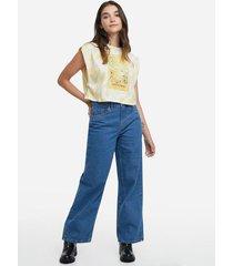 jean culotte  color azul medio
