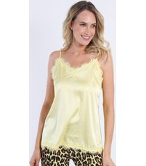 blusa lencera satin amarillo night concept