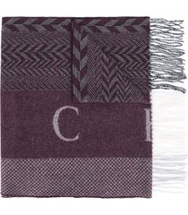hackett zig-zag knit scarf - purple