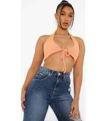 geribbelde crop top met laag decolleté en halter neck, orange
