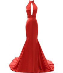 long mermaid prom dress red backless sexy formal evening gown party dress cheap