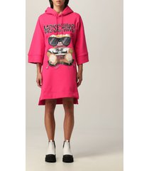 moschino couture dress moschino couture cotton sweatshirt dress with teddy