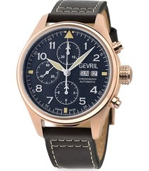 gevril men's vaughn swiss automatic chrono stainless steel & leather-strap watch