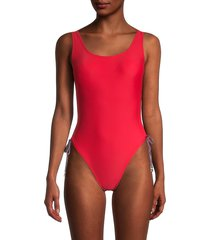 tommy hilfiger women's side-ruched one-piece swimsuit - scarlet - size 10